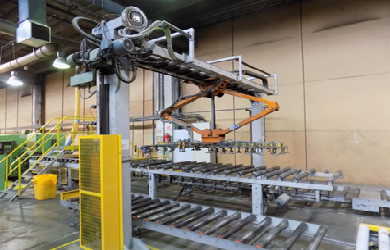 System of conveyors with a shrink wrapping device to pack worktops